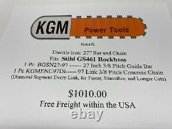 27 Inch Ductile Iron Guide Bar and Chain for Stihl GS461 Rockboss