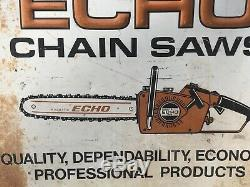 Large Vintage Echo Chainsaw Chain Saw Embossed Sign / Not Stihl / Gas Oil