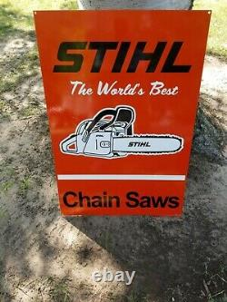 Large Vintage Stihl The World's Best Chain Saws Farm Tool Gas Oil 30 Metal Sign