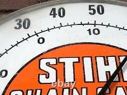 Rare Vtg Stihl Chain Saws 12 Round Advertising Thermometer Jumbo Dial Ohio