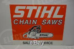 STIHL CHAIN SAW HEAVY STEEL DEALER DIE CUT Sign Rare ENAMEL 16 BY 20