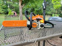 Stihl ms170 cut/climb/carve chain saw, 30cc/ 12 std and carving bars & chains