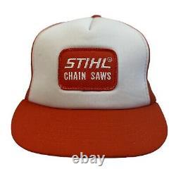 Vintage 1980s Stihl Chain Saws Trucker Hat K Product Deadstock White Orange NOS