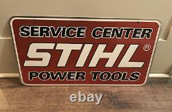 Vintage 1984 Stihl Chain Saws Service Center Metal Dealer Double Sided Sign