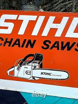 Vintage Metal Rare Lg Stihl Chain Saw Outboard Gas Oil Sign Chainsaw 58X46